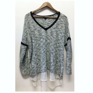 Metaphor | Gray Metallic Knit Sweater Sheer Under